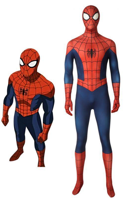 画像1: アルティメット・スパイダーマン ピーター・パーカー/スパイダーマン Ultimate Spider-Man Season1 Peter Parker ジャンプスーツ コスプレ衣装 コスチューム cosplay (1)
