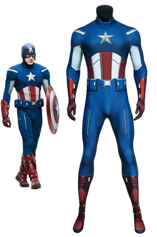画像1: アベンジャーズ キャプテン アメリカ ジャンプスーツ The Avengers Captain America Zentai Jumpsuit Bodysuit コスプレ衣装  映画 コスチューム cosplay (1)