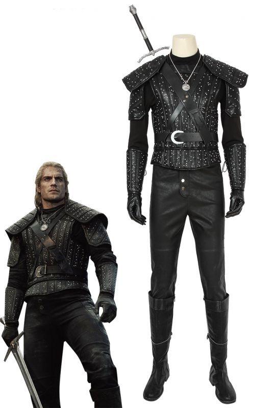 画像1: ウィッチャー モンスタースレイヤー リヴィアのゲラルト ゲラルト The Witcher Geralt of Rivia Geralt ブーツ付きコスプレ衣装 (1)