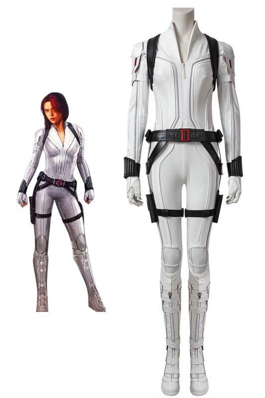 画像1: ブラック・ウィドウ ナターシャ・ロマノフ Black Widow Natasha Romanoff White suit ブーツ付き コスプレ衣装  映画 コスチューム cosplay (1)