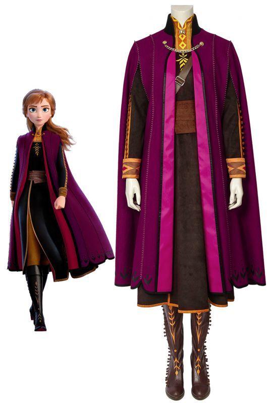 画像1: アナと雪の女王2 アナ Frozen2  Frozen II Anna ブーツ付き コスプレ衣装  コスチューム ゲーム cosplay (1)