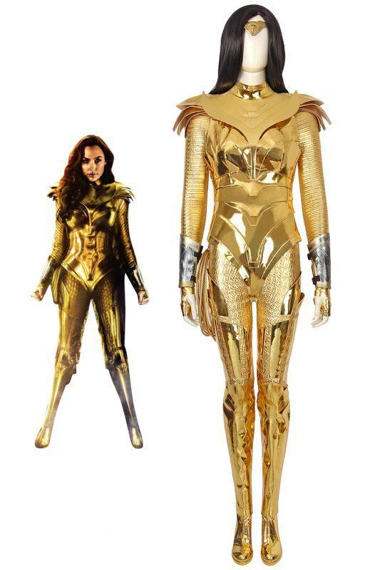 画像1: ワンダーウーマン ダイアナ Wonder Woman 1984 Diana Prince ゴールデンバトルスーツブーツ付き コスプレ衣装 コスチューム ゲーム cosplay (1)
