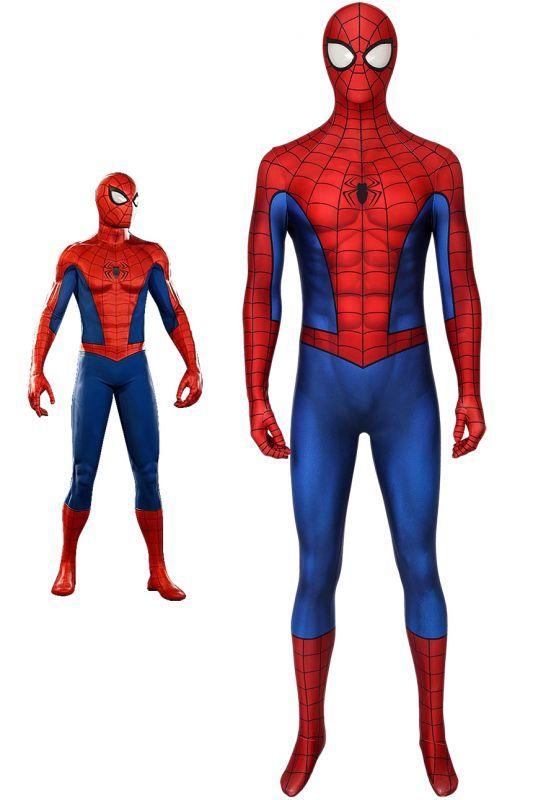 画像1: Spider-Man スパイダーマン PS4 3D Classic Suit ジャンプスーツ コスプレ衣装  コスチューム ハロウィン cosplay (1)
