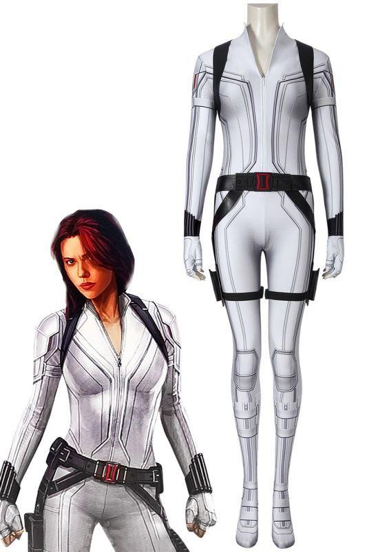 画像1: ブラック・ウィドウ ナターシャ・ロマノフ Black Widow Natasha Romanoff White suit ジャンプスーツ コスプレ衣装  コスチューム cosplay (1)